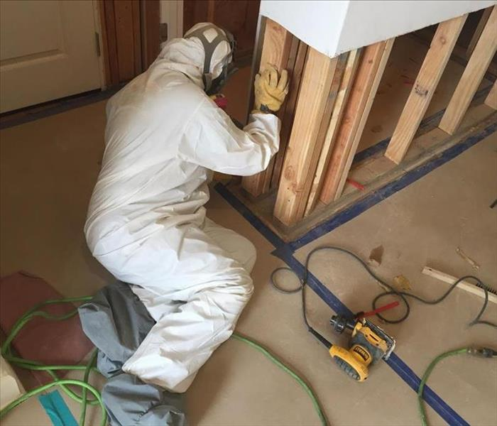 worker wearing protective equipment while sanding and HEPA vacuuming in a contained work area