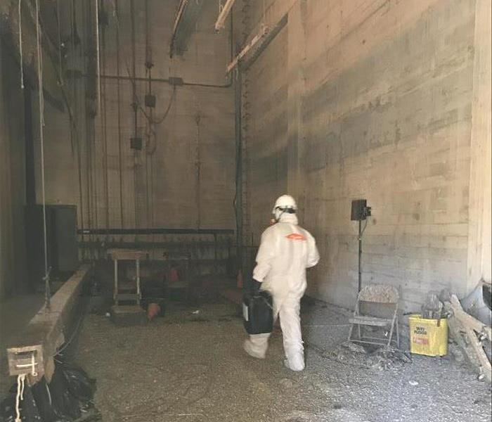SERVPRO spraying antimicrobial at the Lompoc Theater