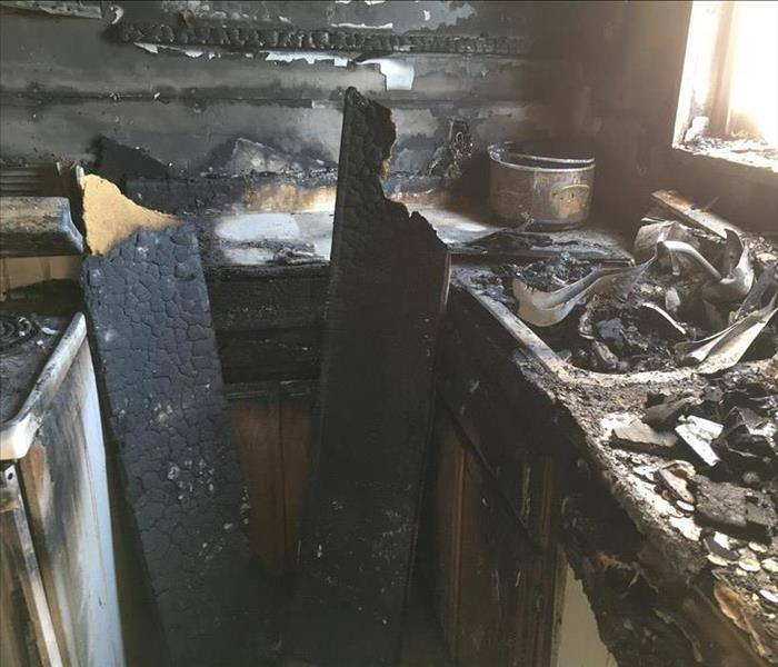Burned kitchen after a fire